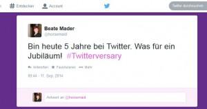 Twitter 5 Jahre Jubiläum